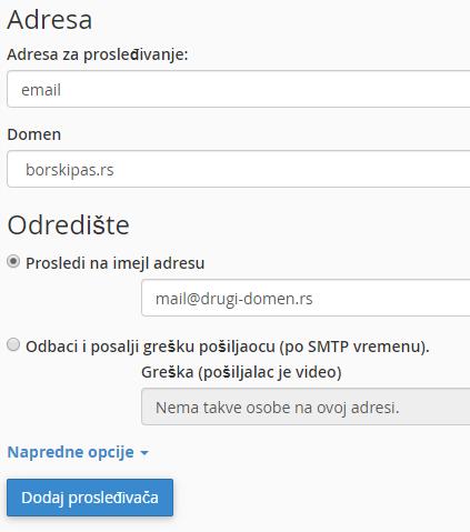 cPanel - Dodaj novi imejl prosleđivač