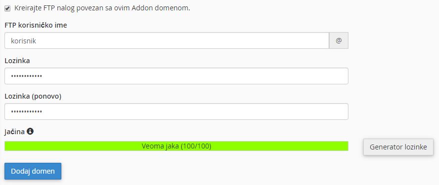 Kreiranje novog FTP naloga koji će biti korišćen samo za ovaj Addon domen