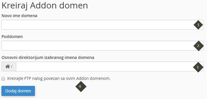 Dodaj Addon domen kroz cPanel