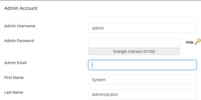 Podaci za nalog administratora