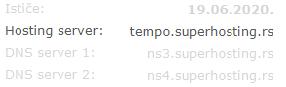 Ime hosting servera u korisničkom profilu