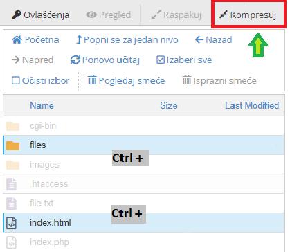 Kompresovanje fajlova i direktorijuma u cPanel-u
