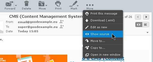 Opcija za prikazivanje zaglavlja i koda imejla u RoundCube-u.