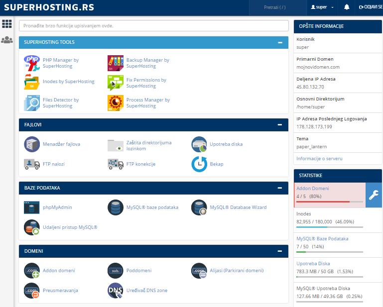 Кontrolna tabla za hosting usluge