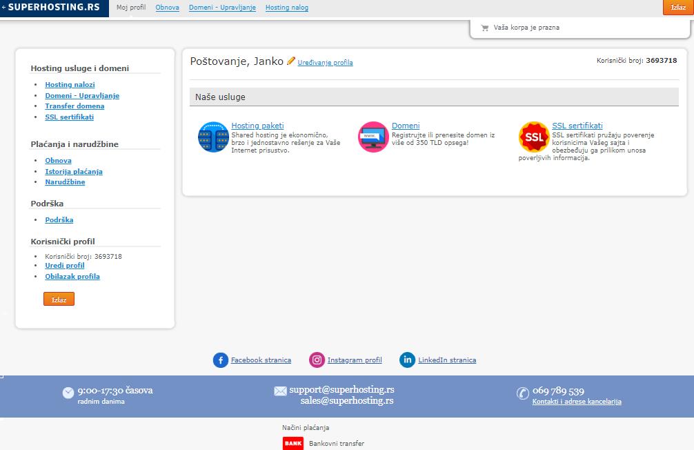 Korisnički profil u okviru SuperHosting.RS