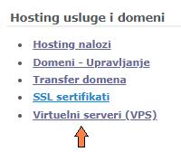 Korisnički profil - Virtuelni serveri